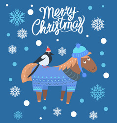 merry christmas horse and bird vector image vector image