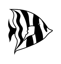 monochrome silhouette with sea fish to striped vector image