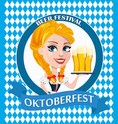 oktoberfest flyer with sexy redhead girl holding vector image vector image
