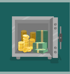 opened safe with coins and cash in front view vector image vector image