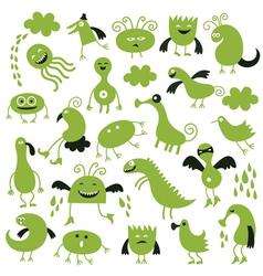 Set of little green monsters vector