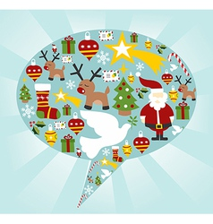 Christmas icon set in speech bubble shape vector image vector image