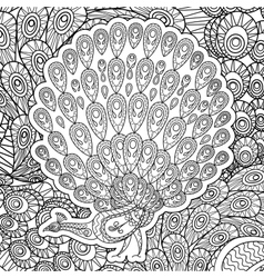 Coloring page for adults with Peacock vector image vector image