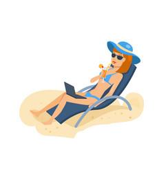 Girl in beautiful underwear resting on beach vector