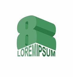 Logo 8 green number eight 3d design template vector