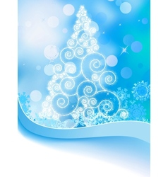 White christmas tree on abstract light EPS 8 vector image vector image