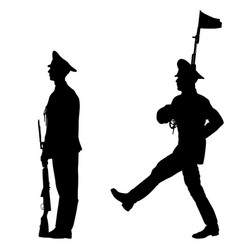 black set silhouette soldier is marching with arms vector image
