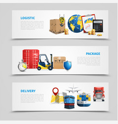 colored logistic banner set vector image vector image