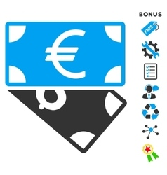 Euro And Dollar Banknotes Flat Icon With vector image
