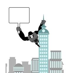 Gorilla holding blank worksheet nameplate wild vector