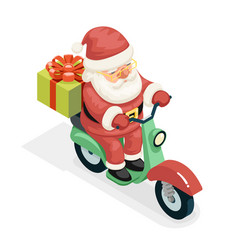 isometric 3d gift box santa claus delivery courier vector image vector image