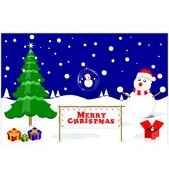 Merry christmas glass ball snowman vector
