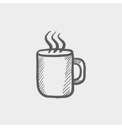 Mug of hot choco sketch icon vector image