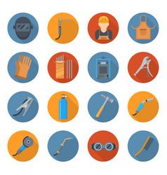 welding industry cartoon icon set vector image vector image