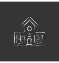 Building Drawn in chalk icon vector image