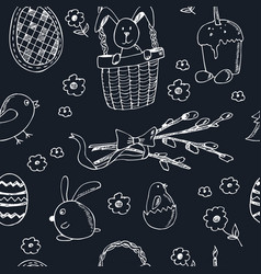 easter traditional doodle symbols seamless pattern vector image