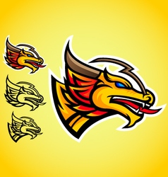 gold dragon emblem logo vector image