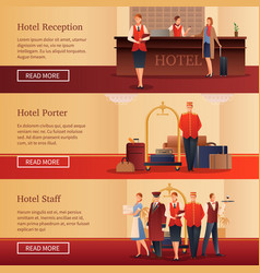 hotel personnel flat banners vector image