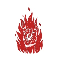 Rock n roll sign on fire silhouette vector image