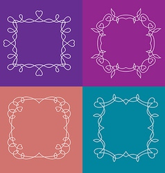 set of outline frames with floral and love vector image vector image