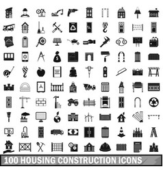 100 housing construction icons set simple style vector