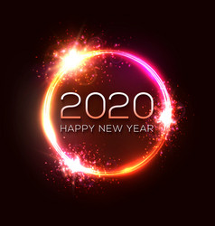 2020 happy new year neon light red background vector image