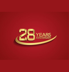 28 years anniversary logo style with swoosh vector