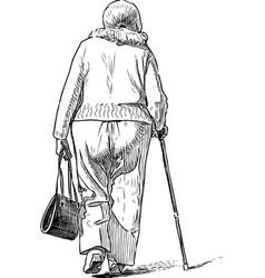 A sketch an elderly woman going on a walk vector