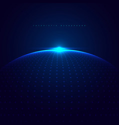 Abstract 3d blue glowing dots particles sphere vector