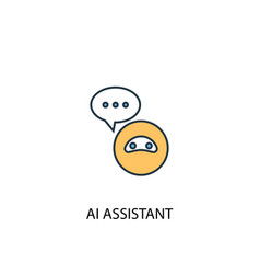 ai assistant concept 2 colored line icon simple vector image