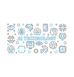 Ai technology horizontal outline or vector