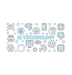 Ai technology horizontal outline vector