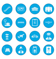 airport black icon blue vector image