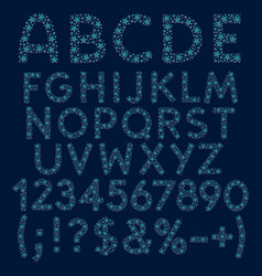 alphabet numbers of blue stars circles vector image