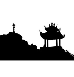 Ancient buddhist temple silhouette vector
