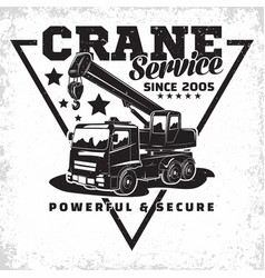 Auto crane emblem design vector