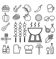 barbecue icon set line vector image