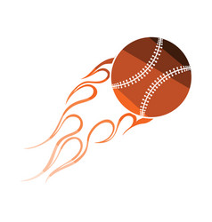 Baseball fire ball icon vector