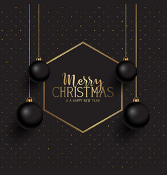 black and gold christmas background vector image
