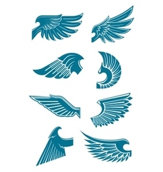 Blue angel or bird wings icons for heraldic design vector