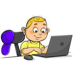 boy using laptop vector image