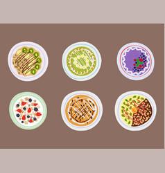 Breakfast oatmeal porridge with berries top view vector