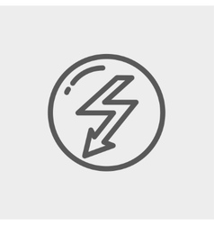 Bubble with lightning arrow thin line icon vector image