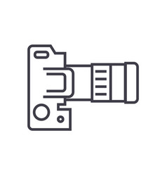 Camera dslr top view line icon sign vector