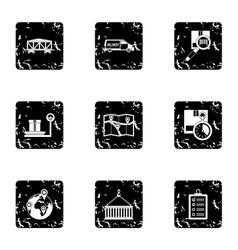 Cargo icons set grunge style vector
