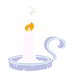 Cartoon doodle a candle holder and lit candle vector