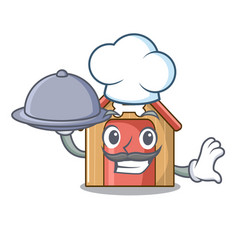 chef with food dog house isolated on mascot vector image