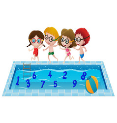 Children in swimming suit playing with numbers in vector