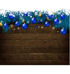 Christmas decoration on old wooden board vector