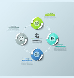 Circular diagram with 4 equal round elements vector
